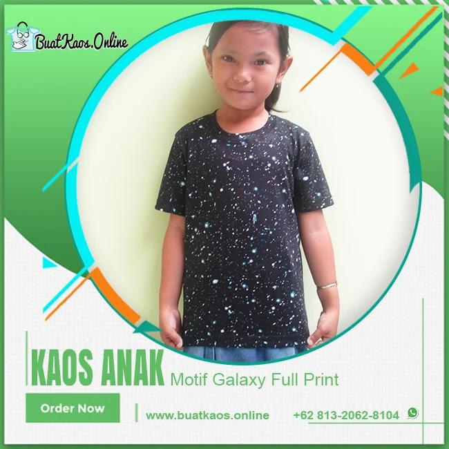 Baju Kaos Anak Motif Galaxy Fullprint Polos