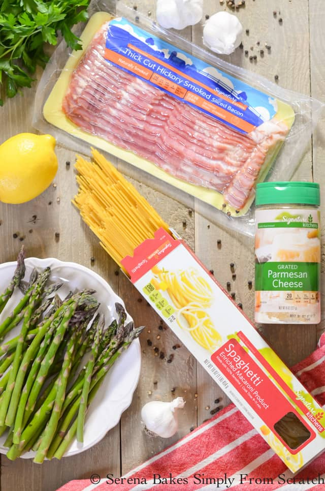 Bacon Asparagus Pasta is only 7 ingredients plus spices from Serena Bakes Simply From Scratch.
