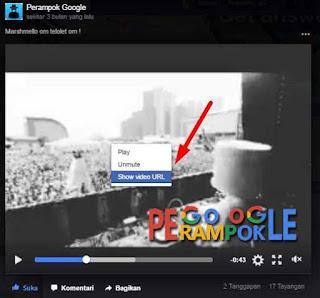 Silahkan show video URL lalu copy