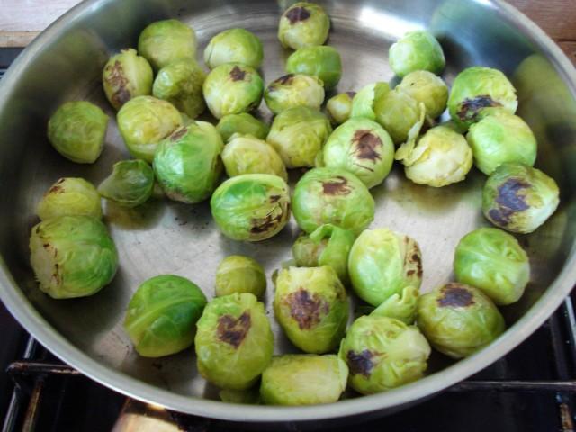 Sauté Brussels sprouts until golden-brown