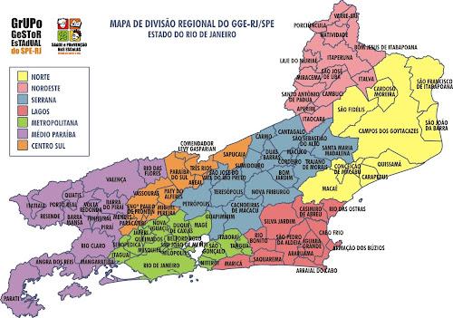 Mapa divisão regional do estado do Rio de Janeiro
