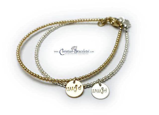 Gold WWJD Bracelet & Sterling Silver WWJD Bracelet with a Gold WWJD Charm and Sterling Silver WWJD Charm