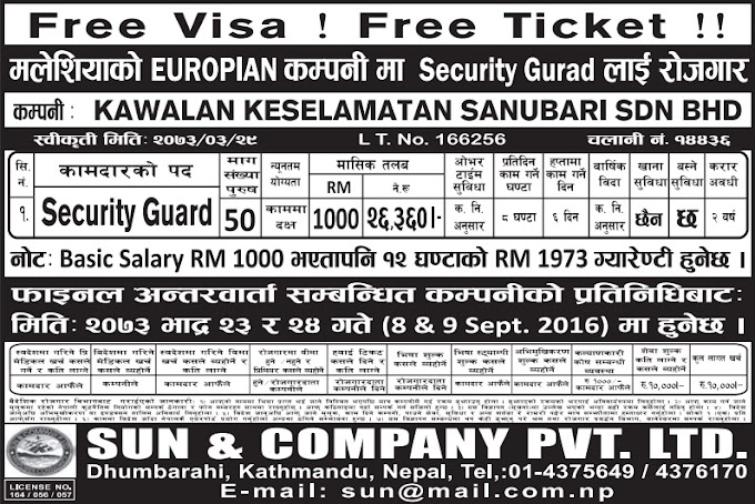 Free Visa, Free Ticket Jobs For Nepali In Malaysia Salary- Rs. 26,360/