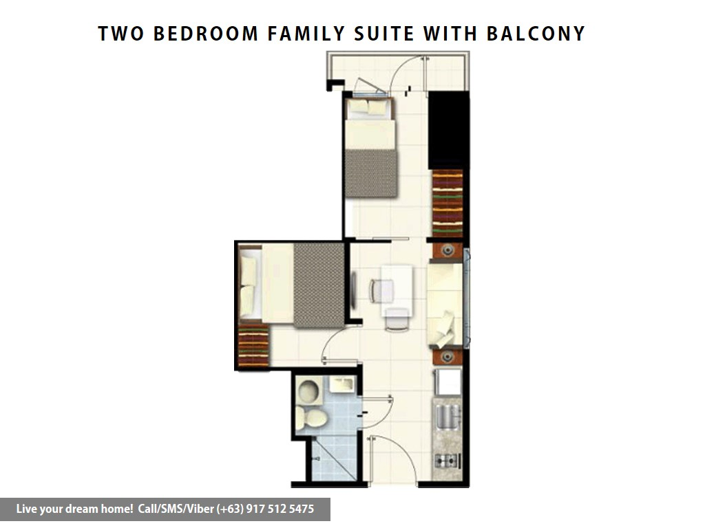 Floor Plan of SMDC Coast Residences - 2 Bedroom Family Suite B With Balcony | Condominium for Sale Roxas Boulevard Pasay