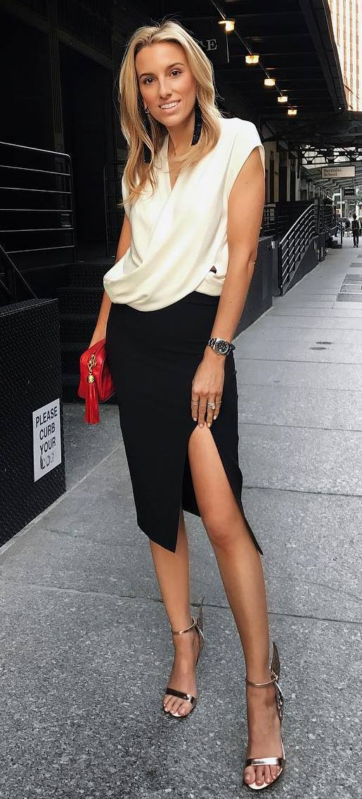 trendy office style outfit: blouse + skirt + heels