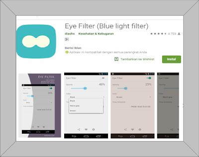 Filter blue light for eye