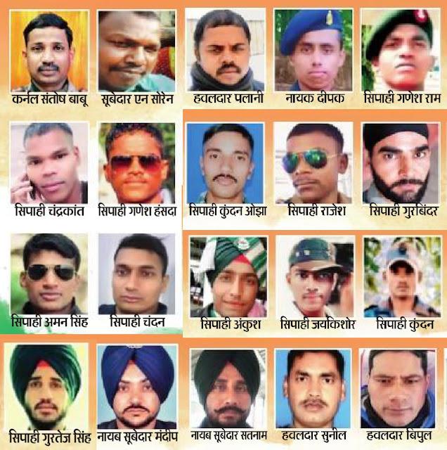 Ladakh Seema Shahid 20 Jawan, 20 शहीद भारतीय सैनिकों के नाम, 20 Shahid Indian soldiers ke naam