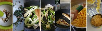 Zubereitung Jerk-Fisch mit Mais und Lauch