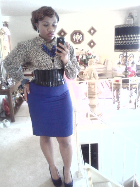 efe63085f85a Today 4 28 13. Gold and black cheetah print blouse  Royal blue ...