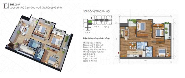 thiết kế căn hộ ecolife tây hồ 101,2m