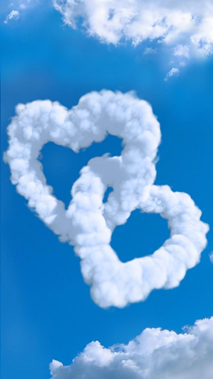 Wallpaper Nuvens de Coração iPhone 6S Plus