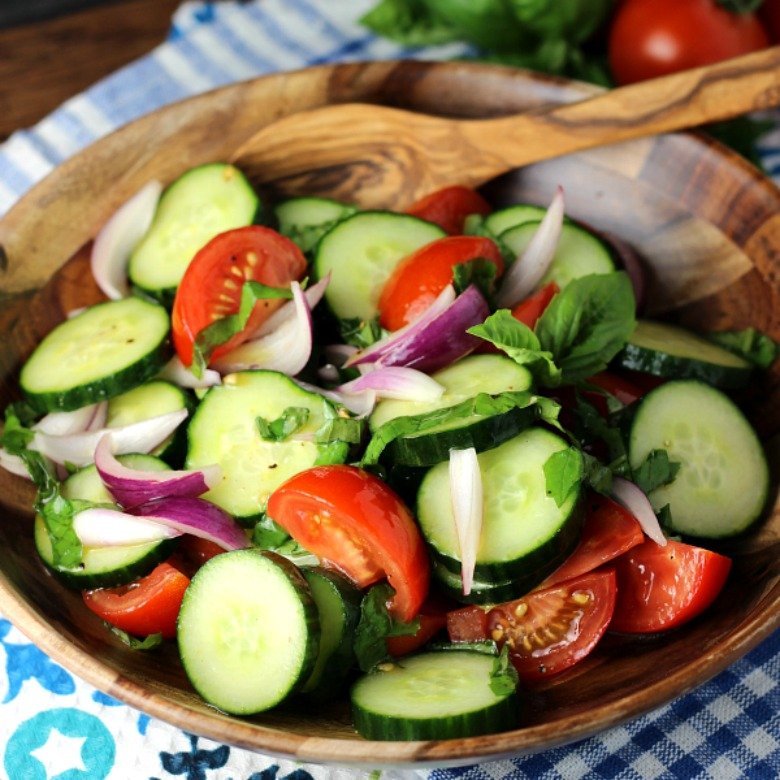Cucumber, Tomato, and Basil Salad