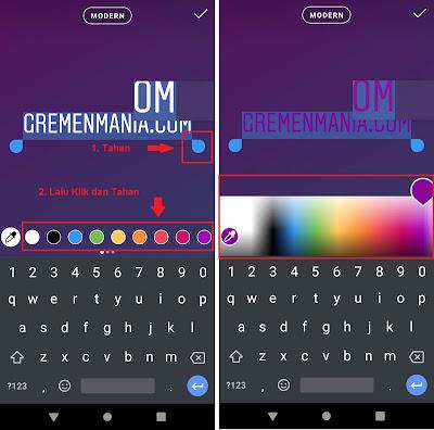 Lalu dalam waktu yang bersamaan klik dan tahan salah satu warna dibawah sampai muncul panel atau warna-warna baru.