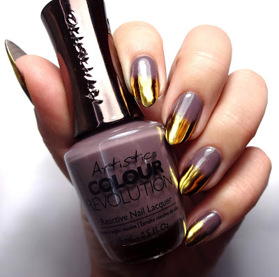 Taupe and Gold Nails