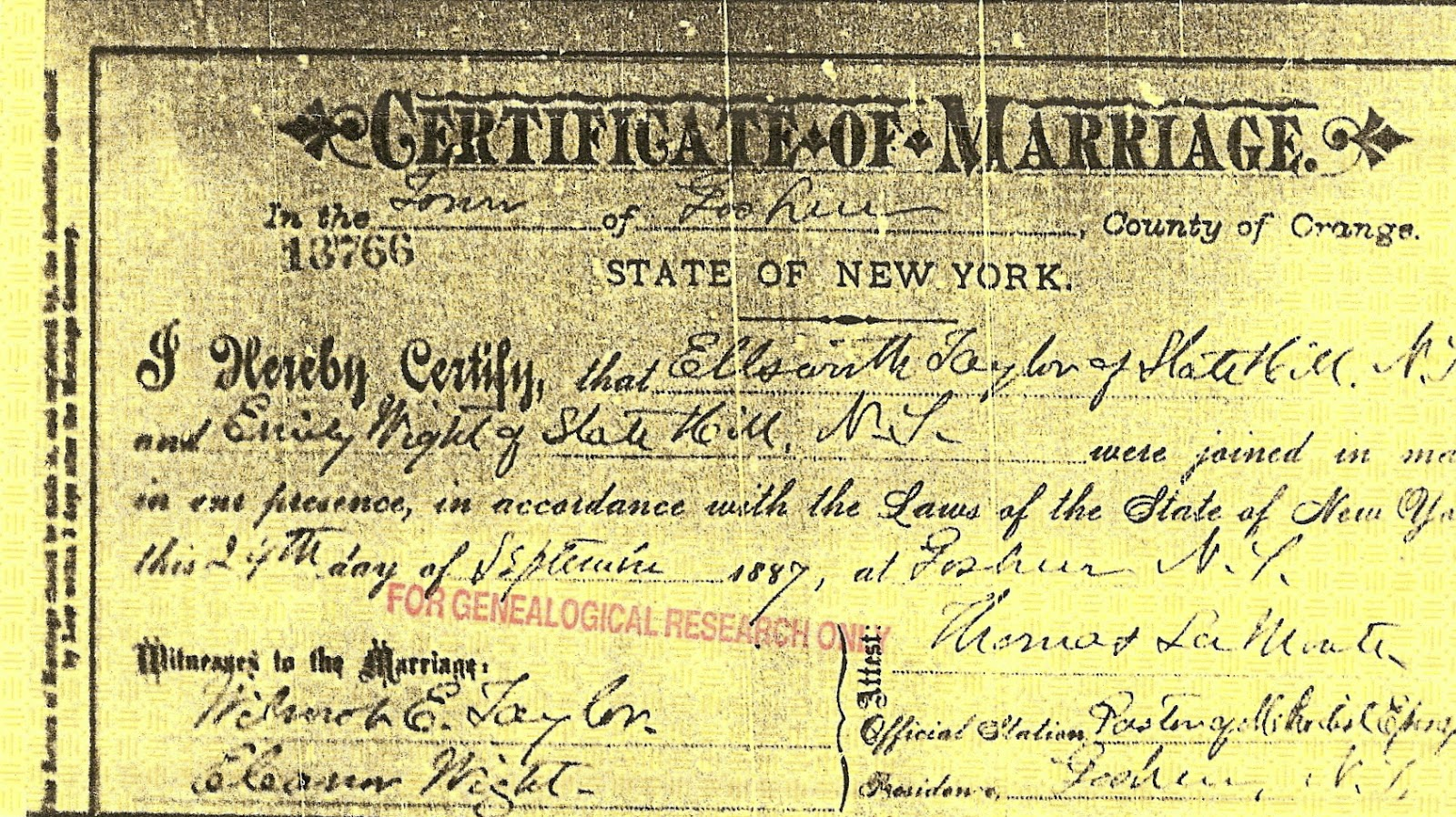 Certificate of Marriage Ellsworth Taylor and Emily Wight Sept. 27, 1887