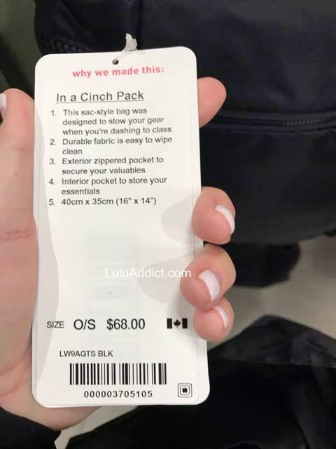 lululemon in-a-cinch-pack tag