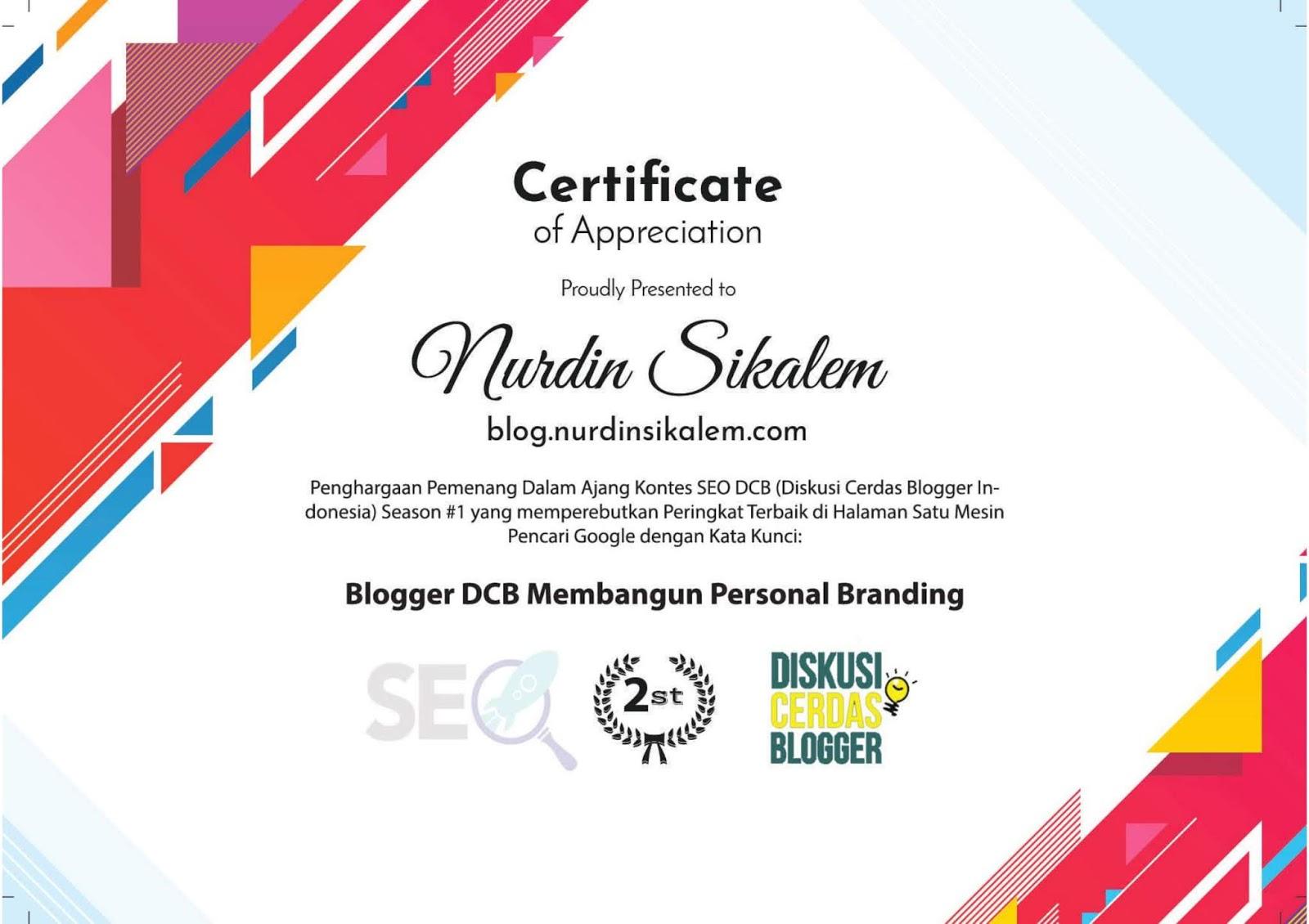 2nd Certificate Blog Nurdin SIkalem SEO Competition