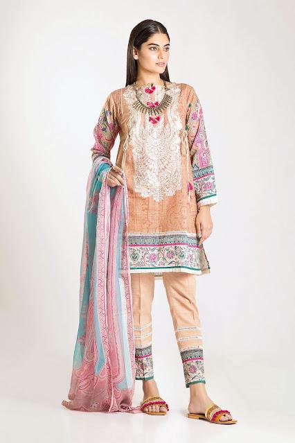 khaadi winter karandi chiffon beige color dress