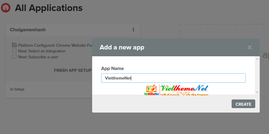 đặt tên ứng dụng push notifications