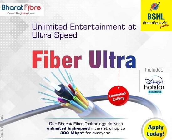 Latest BSNL Bharat Fiber (FTTH) Broadband plans bundled with free premium OTT subscription