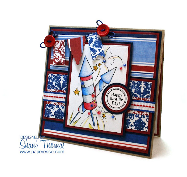 Happy Bastille Day card with free Opal Manor digital stamp, by Paperesse.