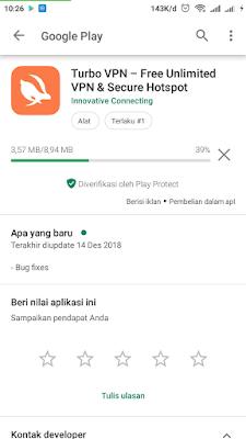 Langkah download aplikasi Turbo VPN