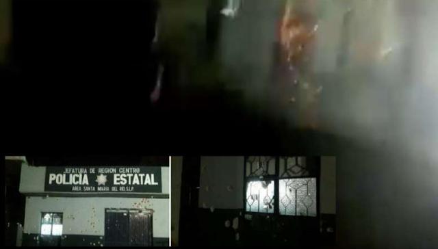 VIDEO+ Fotografias .- Sicarios del CJNG llegan y disparan contra  base de Estatales en San Luis Potosí y les arrojan granada