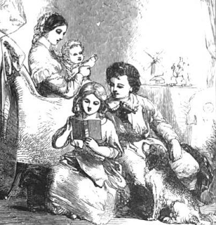Victorian family reading, 1850, from Mrs. Gilman's Gift Book.