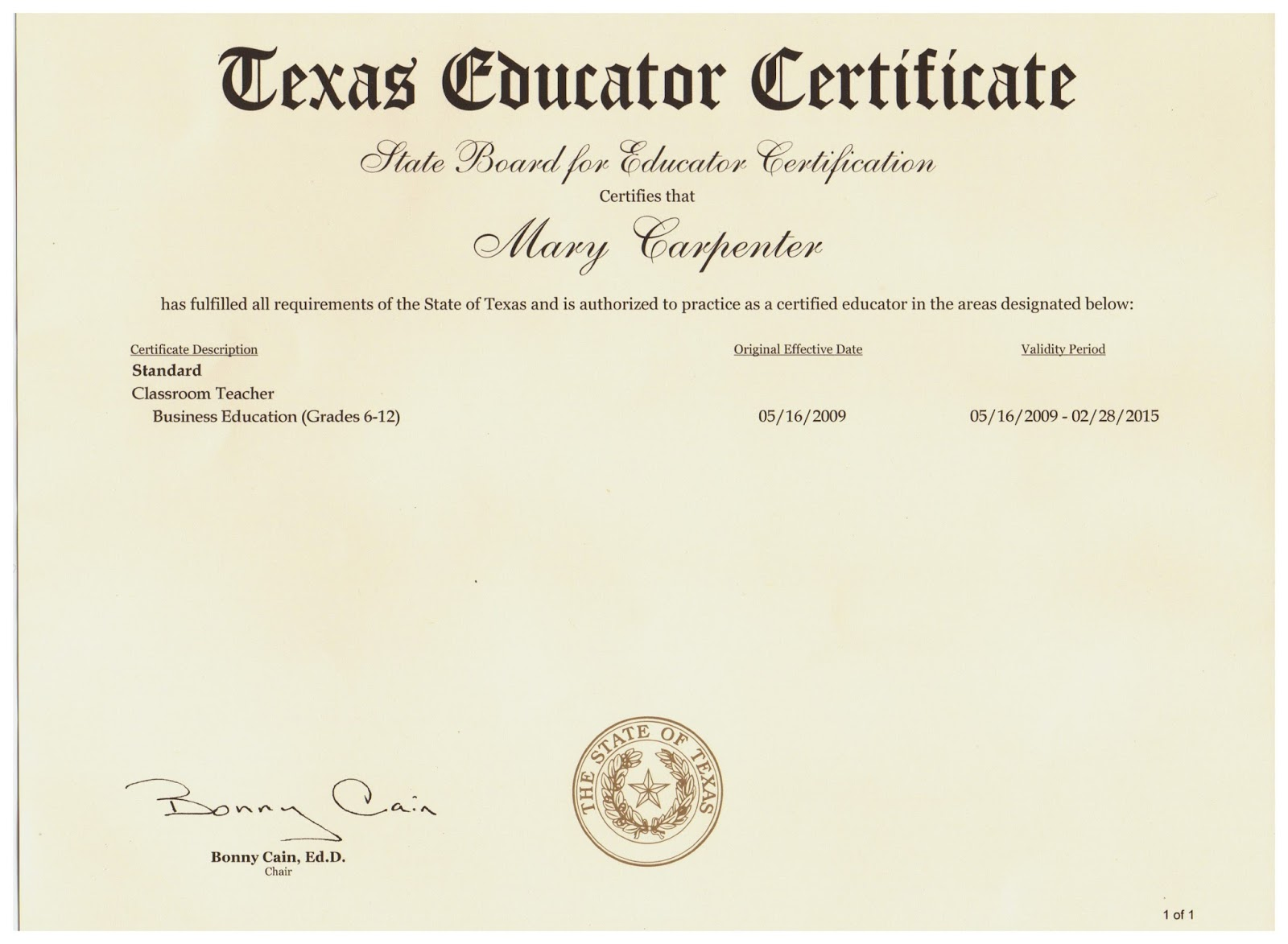 Examples of best certificate 2016 texas teacher certification tr71 1 1betcityfo Gallery