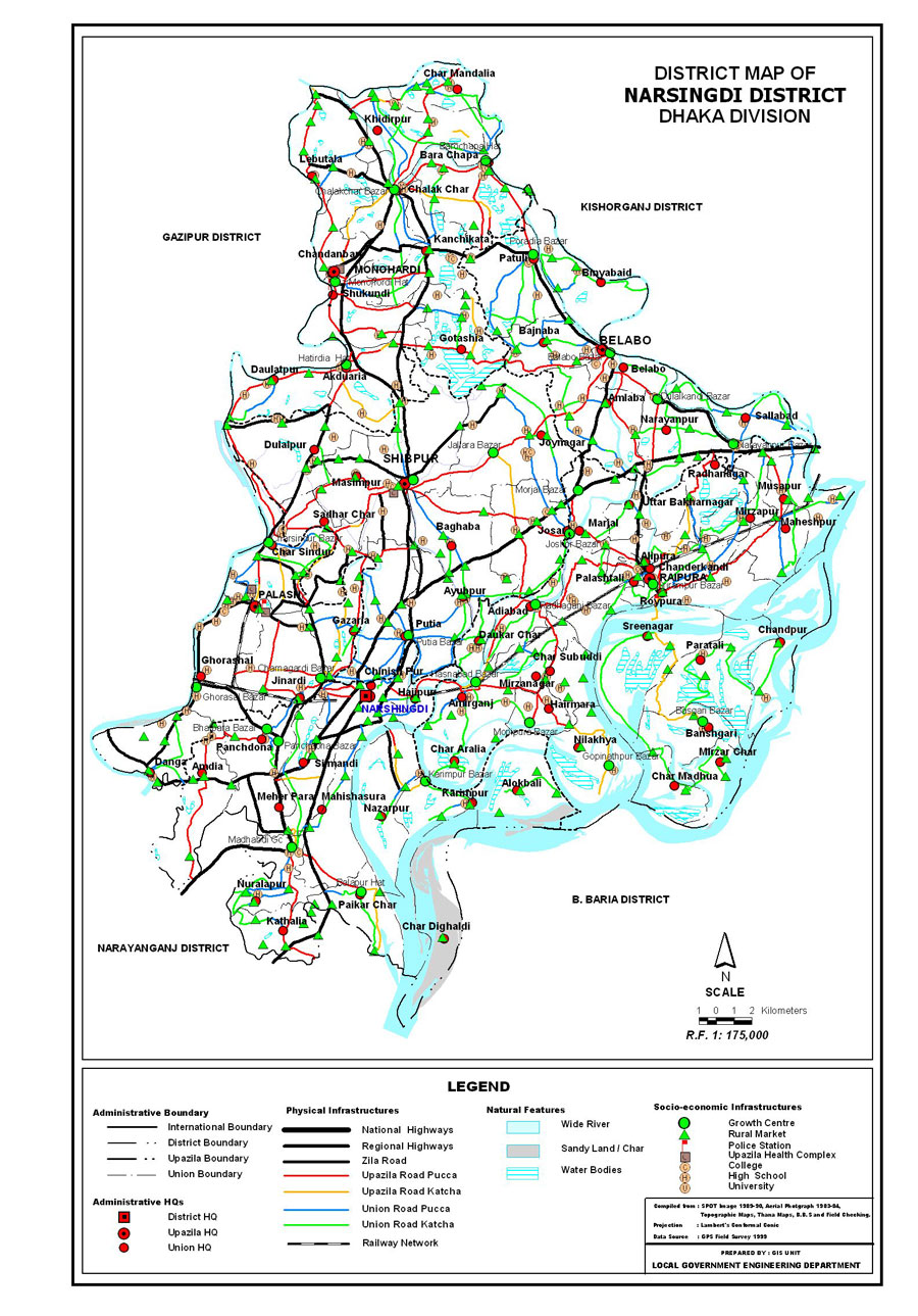 Narsingdi District Map Bangladesh