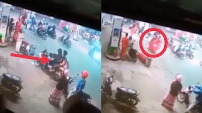 VIDEO: Detik-detik Aksi Penikaman di SPBU Bone Terekam CCTV