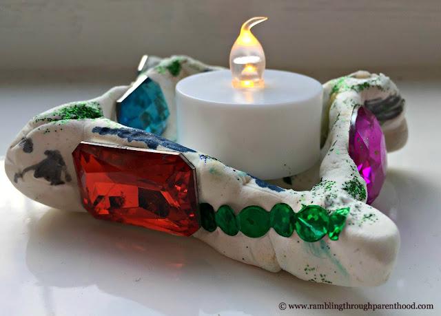 Hand-crafted bejewelled diya for Diwali