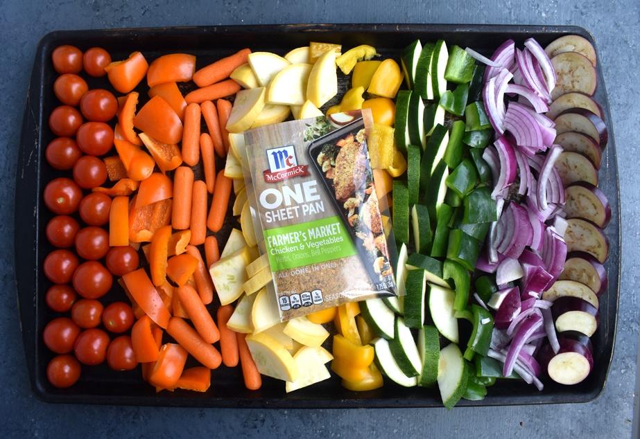 pan of rainbow vegetables