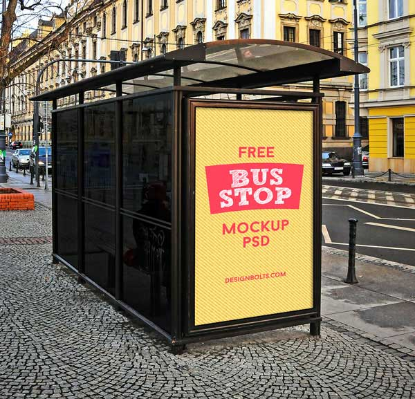 3 Outdoor Advertising Bus Stop Mockup