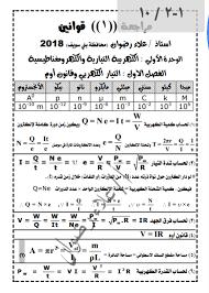 مراجعة قوانين الفيزياء للصف الثالث الثانوي 2021