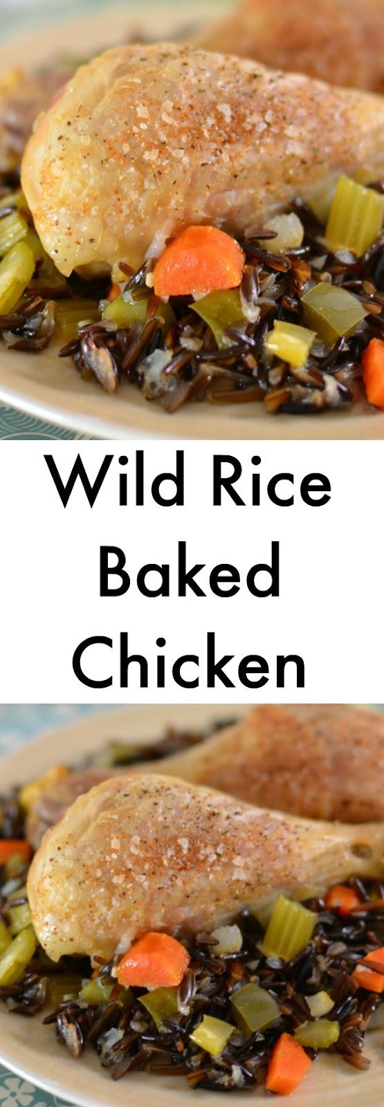 A delicious wild rice and vegetable blend including carrots, celery, green bell peppers and onions! The chicken is roasted perfectly and this recipe is healthier too since it's made with NO cream soups! Wild Rice Baked Chicken Recipe from Hot Eats and Cool Reads