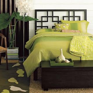 Habitación matrimonial verde limón