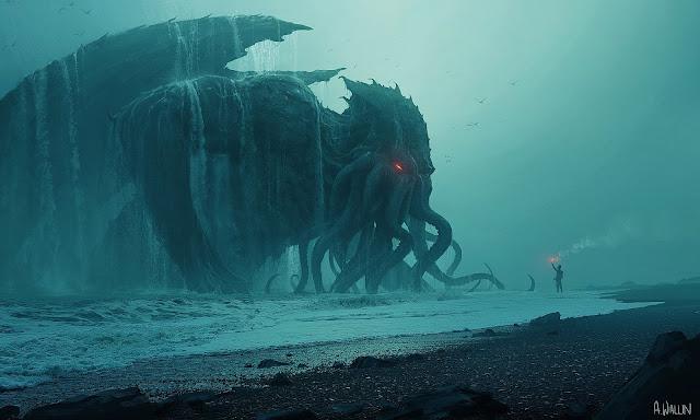 Ilustração de Chutlhu, o monstro marítimo de Lovecraft.