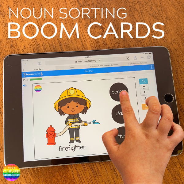 USING BOOM CARDS TO TEACH NOUNS IN KINDERGARTEN - why I use BOOM cards for helping to teach common nouns to kindergarten aged children | you clever monkey