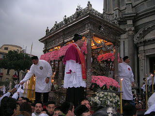 The flower-bedecked carriage of St Agatha at the February 5 celebration in Catania