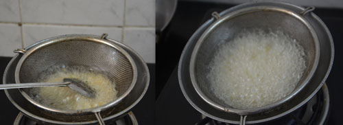 frying dal using a strainer