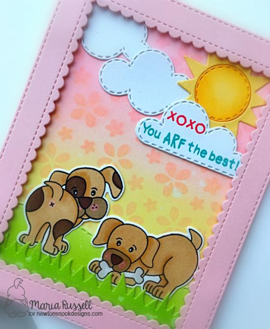 You Arf the Best Card by Maria Russell | Puppy Playtime Stamp Set, Petite Flowers Stencil, Land Borders Die Set and Sky Scene Builder Die Set by Newton's Nook Designs #newtonsnook #handmade