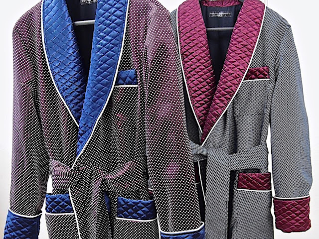 Men's silk dressing gowns quilted collar