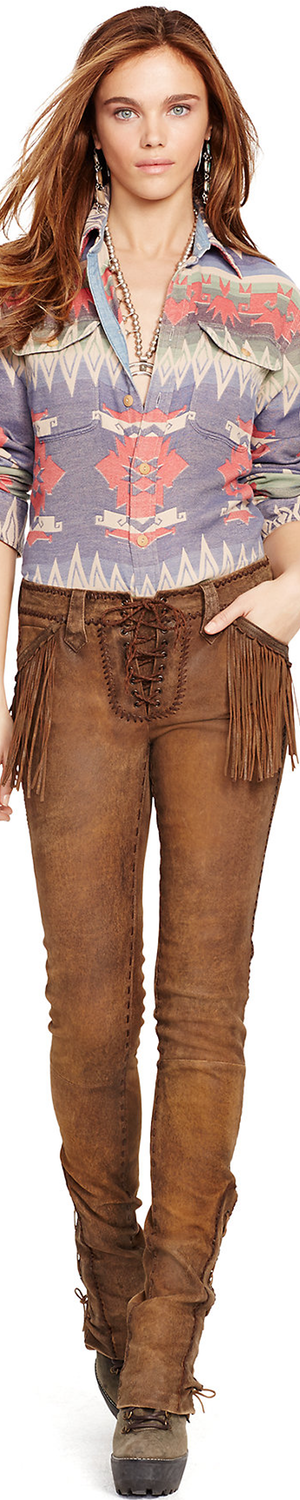 Ralph Lauren Fringed Stretch Leather Pant