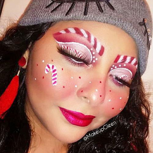 Maquillaje artístico de caramelo de Navidad