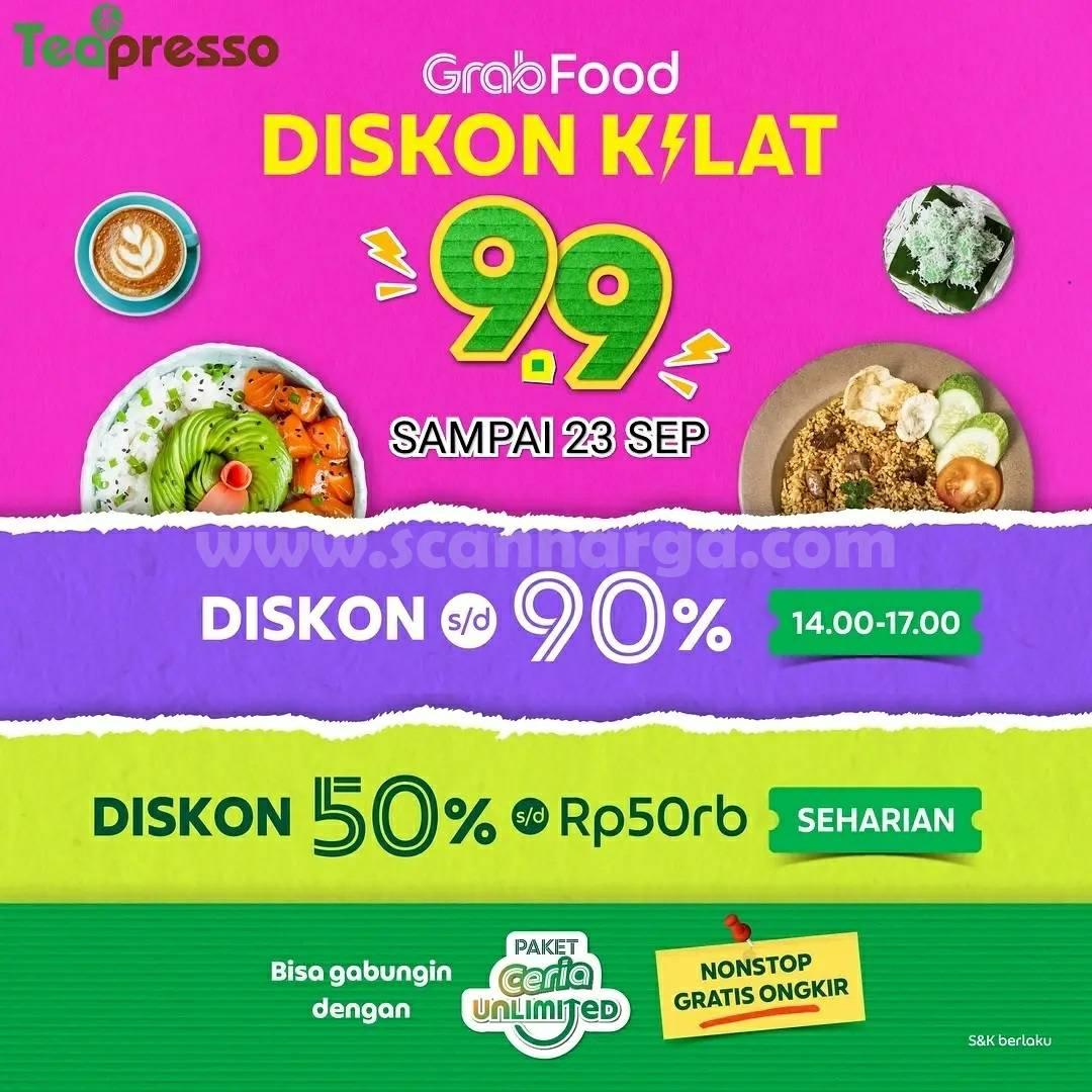 Promo Teapresso 9.9 Flash Sale GrabFood Diskon hingga 90%
