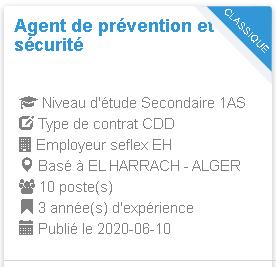 Agent de prévention et de sécurité seflex EH EL HARRACH - ALGER