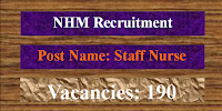NHM 190 Staff NUrses Recruitment