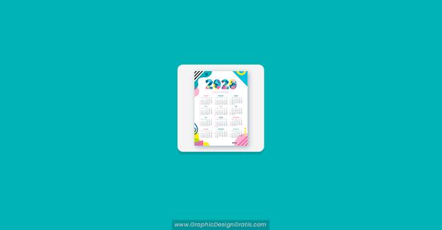 Calendario abstracto 2020 para imprimir gratis