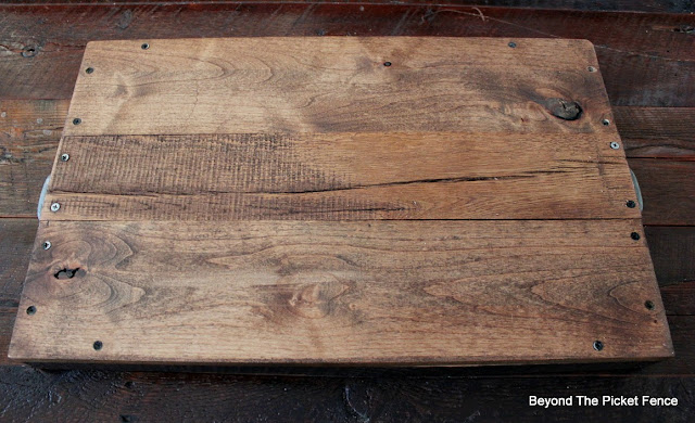 Countersink trays on a reclaimed wood tray